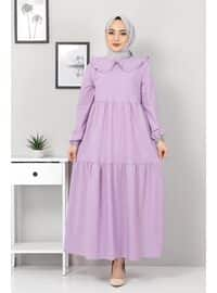 Lilac - Crew neck - Unlined - Modest Dress