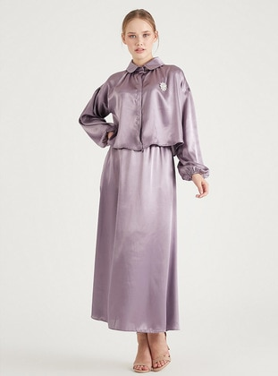 Lilac - Unlined - Point Collar - Modest Evening Dress
