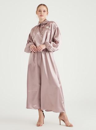 Powder - Unlined - Point Collar - Modest Evening Dress