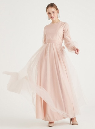 Powder - Fully Lined - Crew neck - Modest Evening Dress