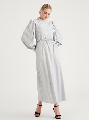 Gray - Silvery - Fully Lined - Modest Evening Dress