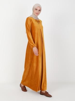 Mustard - Crew neck - Modest Dress