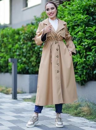 Camel - Unlined - V neck Collar - Trench Coat