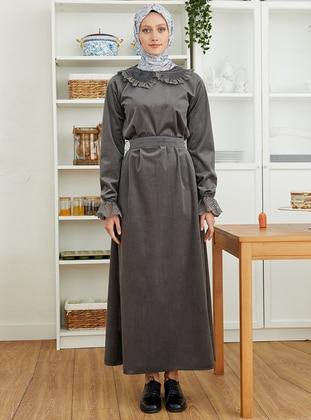 Gray - Round Collar - Unlined - - Modest Dress