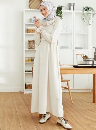 Cream - Round Collar - Unlined - - Modest Dress
