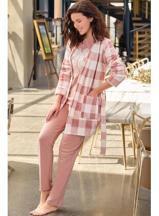 Dusty Rose - Crew neck - Checkered - Pyjama Set