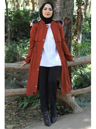 Terra Cotta - Fully Lined - Crew neck - Plus Size Coat