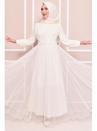 White - Modest Evening Dress
