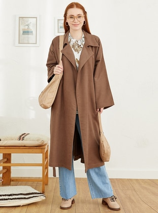 Brown - Unlined - Shawl Collar - Coat