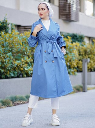 Indigo - Unlined - V neck Collar - Trench Coat