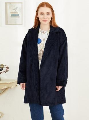 Navy Blue - Multi - Shawl Collar - - Jacket