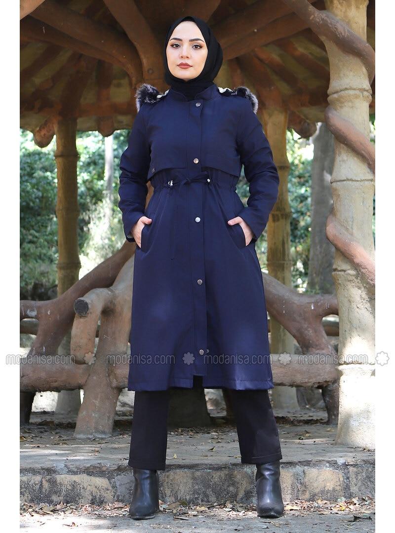 Navy Blue - Fully Lined - Crew neck - Plus Size Coat