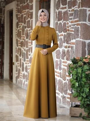 Yellow - Unlined - Crew neck - Modest Evening Dress