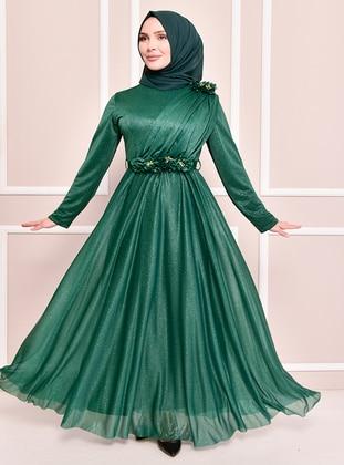 Green - Modest Evening Dress